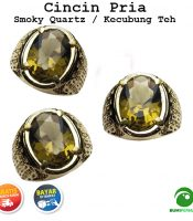 Cincin Batu Akik Smoky Quartz Kecubung Teh Full Cutting