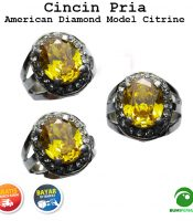 Batu Cincin Akik American Diamond Model Citrine Quartz