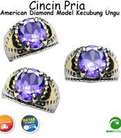 Batu Cincin Akik American Diamond Model Kecubung Ungu