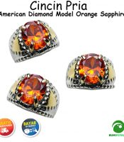Batu Cincin Akik American Diamond Model Orange Sapphire