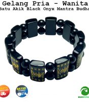 Gelang Batu Akik Black Onyx Dengan Tulisan Mantra Budda
