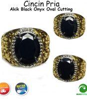 Cincin Batu Akik Black Onyx Oval Cutting