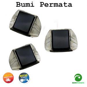 Batu Cincin Akik Black Onyx Kotak Ring Monel - Stainless Steel