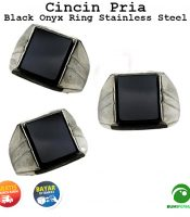 Batu Cincin Akik Black Onyx Kotak Ring Monel - Stainless Steel