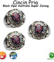 Cincin Batu Akik Black Opal Australia Istimewa