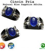 Cincin Batu Permata Natural Blue Sapphire Corondum