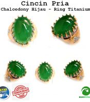Cincin Pria Batu Akik Chalcedony Hijau Asli Natural Ring Titanium Big Size Keren Mewah