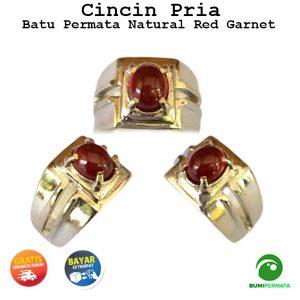 Batu Cincin Pria Wanita Permata Red Garnet Natural