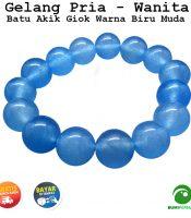 Gelang Batu Giok Warna Biru Muda Jade 13 MM