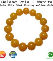 Gelang Batu Akik Giok Kuning Yellow Jade 13 MM