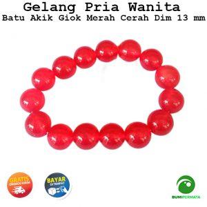 Gelang Batu Akik Giok Merah Cerah Red Jade 13 mm