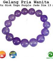 Gelang Batu Akik Giok Ungu Purple Jade 13 mm