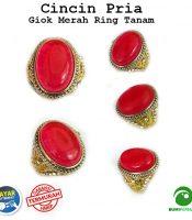 Cincin Pria Batu Akik Giok Merah Keren Elegan Natural Ring Tanam