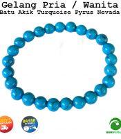 Gelang Pria Wanita Batu Akik Turquoise Pyrus Nevada Biru 8 MM