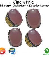 Cincin Batu Akik Lavender Chalcedony Keren Mewah
