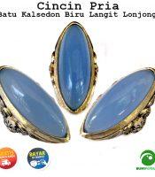Batu Cincin Akik Kalsedon Biru Langit Lonjong