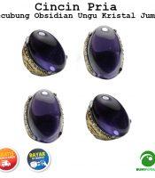 Cincin Pria Batu Akik Kecubung Obsidian Ungu Jumbo