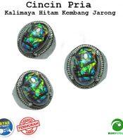 Batu Cincin Akik Black Opal Kalimaya Hitam Kembang Jarong Hand Made