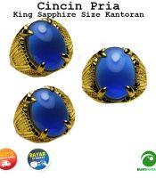 Batu Cincin Akik King Sapphire Oval Cabochon Size Kantoran