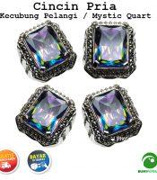 Batu Cincin Akik Kecubung Pelangi Mystic Quartz Kotak Keren Elegan
