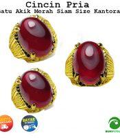 Batu Cincin Akik Merah Siam Oval Cabochon Size Kantoran