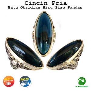 Cincin Batu Akik Obsidian Biru Size Pandan