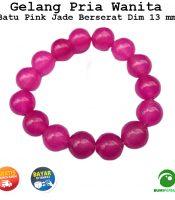 Gelang Batu Mulia Akik Pink Jade 13 mm