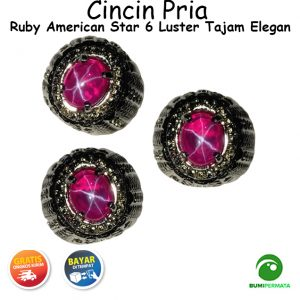 Batu Cincin Permata Ruby American Star Luster 6 Mewah Istimewa