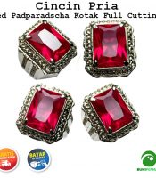Batu Cincin Akik Red Padparadscha Kotak Full Cutting