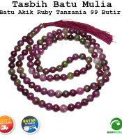 Tasbih Batu Mulia Akik Ruby Tanzania 99 Butir