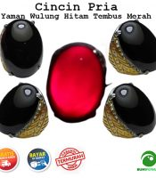 Batu Cincin Pria Akik Yaman Wulung Tembus Warna Merah