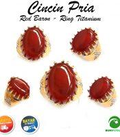 Garansi Termurah Cincin Pria Batu Akik Red Baron Asli Natural Ring Titanium Keren Mewah