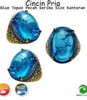Cincin Batu Akik Blue Topaz Pecah Seribu Size Kantoran