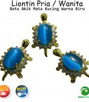 Liontin Batu Akik Mata Kucing Model Kura Kura Warna Biru