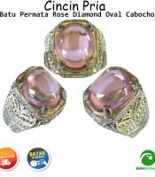 Batu Cincin Akik Pink Diamond Oval Cabochon