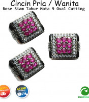 Cincin Batu Akik Pria Wanita Pink Rose Siam Tabur Mata 9