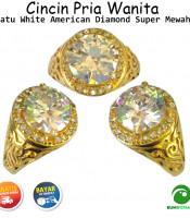 Cincin Pria Wanita Super Mewah American Diamond White
