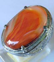 Batu Cincin Akik Asli Motif Kantong Semar Orange Kode Z6