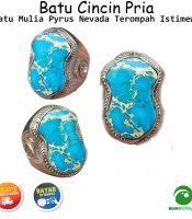 Cincin Terompah Batu Permata Pyrus Nevada Turquoise Akik Asli