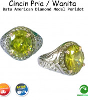 Batu Cincin Akik American Diamond Model Peridot Oval Cutting