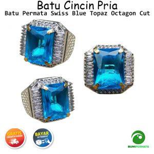 Batu Cincin Akik Swiss Blue Topaz Octagon Cut