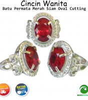 Cincin Wanita Batu Permata Merah Siam Ruby Oval Cutting