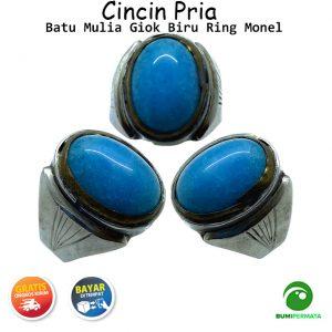 Batu Cincin Akik Jade Giok Biru Ring Monel