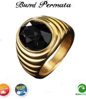 Batu Cincin Akik Black Onyx Oval Cut Gold Titanium Tanam