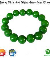 Gelang Giok Warna Hijau Green Jade 13 mm