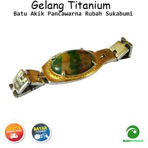 Gelang Titanium Batu Akik Kalsedon Hijau Chrysoprase Manik Ringin