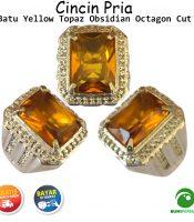 Batu Cincin Akik Permata Yellow Topaz Obsidian Octagon Cut