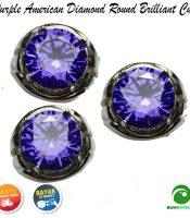 Cincin Purple American Diamond Round Briliiant Cut
