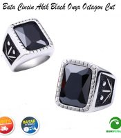 Batu Cincin Akik Black Onyx Octagon Cut Ring Silver Titanium Super