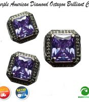 Cincin Purple American Diamond Octagon Briliiant Cut